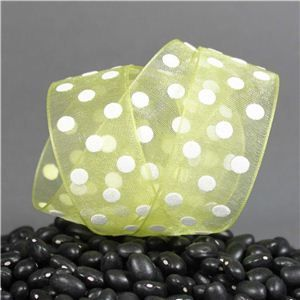 Sheer Puff Dot Ribbon - Lime